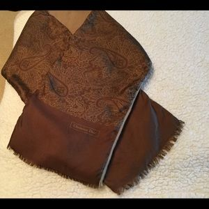 Vintage Christian Dior brown and tan scarf